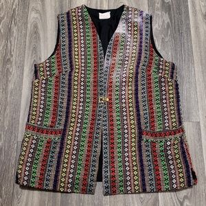 Vintage! 1960s Colorful Jacquard Vest